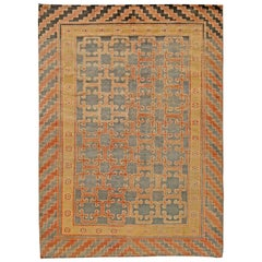 Samarkand Traditional Red, Brown and Black Hand Knotted Wool Rug