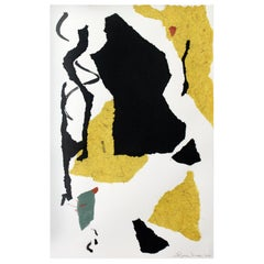 """""""Samba,"""" 2020 Framed Abstract Collage in Black, White and Mustard By Diane Love"""