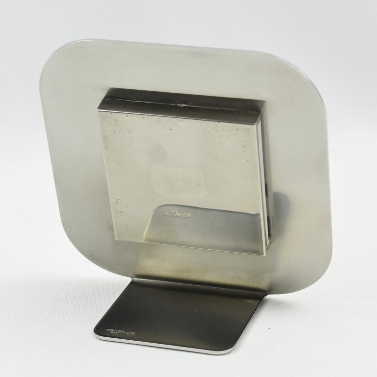 Sambonet Italy Modernist Chrome and Copper Picture Photo Frame In Excellent Condition For Sale In Atlanta, GA