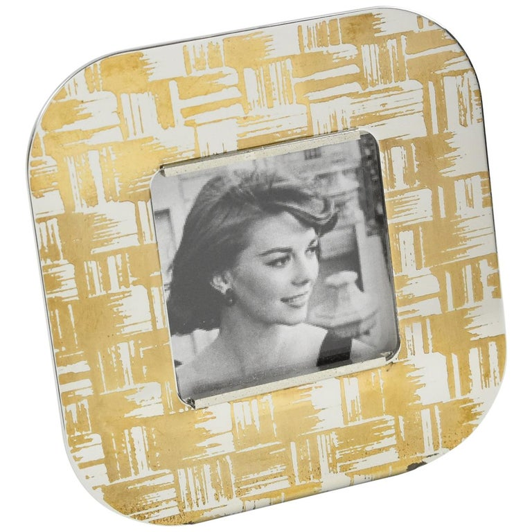 Sambonet Italy Modernist Chrome and Copper Picture Photo Frame For Sale