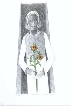 GERTRUDE Hand Drawn Lithograph, Young Black Girl Portrait, Sunflower