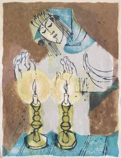 Israeli Modernist Judaica Candle Lighting Lithograph