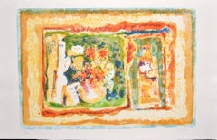 Figure with Flowers - Original Lithograph by Sami Burhan - 1969