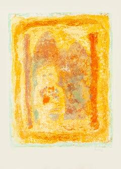Figure with Flowers- Original Litograph by Sami Burhan - 1969