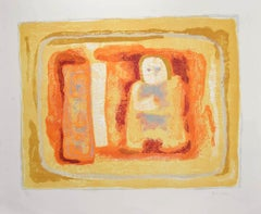 Orangish Figure - Original Lithograph by Sami Burhan - 1960s