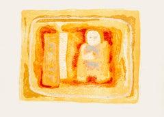 Orangish Figure - Original Litograph by Sami Burhan - 1969