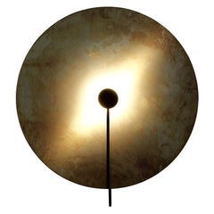 Sami Kallio SOL Extra Large Brass Black Wall Lamp by Konsthantverk Tyringe