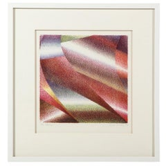 Samia Halaby Abstract Lithograph, Red, White, Green, Signed