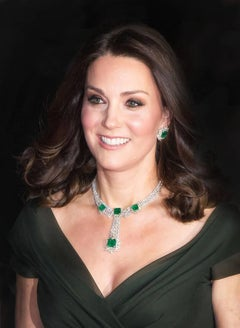 Royal Bafta Smile, Original,Duchess of Cambridge Green emerald necklace earrings
