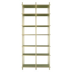 Samir I Luxury Bookeshelf, Interlocking Metal Structure and Wooden Shelves
