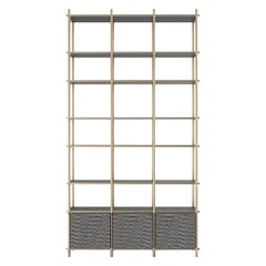 Samir II Luxury Bookshelf, Interlocking Metal Structure, Wooden Shelves