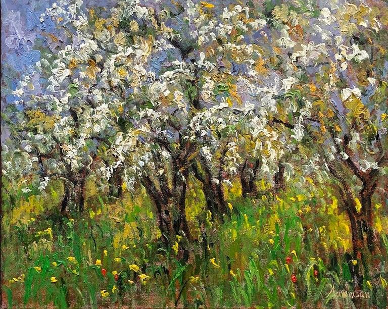 Pommiers en Fleurs St. Hilaire, original 24x30 French Impressionist landscape - Painting by Samir Sammoun