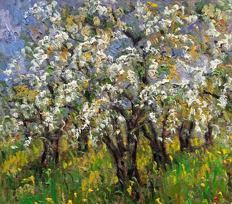 Pommiers en Fleurs St. Hilaire, original 24x30 French Impressionist landscape - Brown Landscape Painting by Samir Sammoun