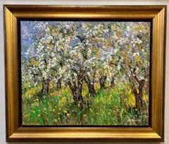 Pommiers en Fleurs St. Hilaire, original 24x30 French Impressionist landscape