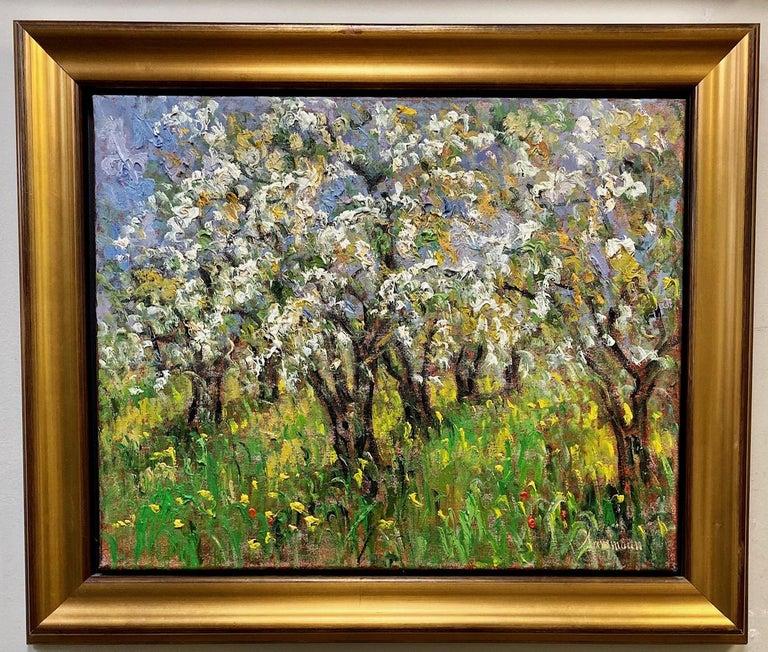Samir Sammoun Landscape Painting - Pommiers en Fleurs St. Hilaire, original 24x30 French Impressionist landscape
