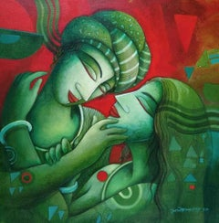 """Couple, Acrylic on Canvas by Contemporary Indian Artist """"In Stock"""""""