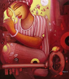 """Untitled, Acrylic on Canvas by Contemporary Indian Artist """"In Stock"""""""