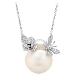 Samira 13 Australian Pearl Diamond Rose and Butterfly 18 Karat Gold Necklace