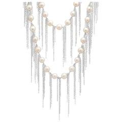 Samira 13 Australian Pearl Fringe Necklace 18 Karat White Gold Layered