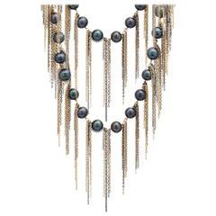 Samira 13 Ink Freshwater Pearl Fringe Layered Necklace