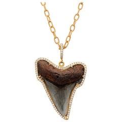 Samira 13 Pave Diamond Shark Tooth Pendant 18k Gold Handmade Chain Necklace