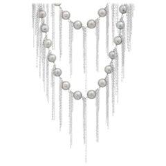 Samira 13 Silver Freshwater Pearl Fringe Layering Necklace