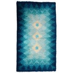Samit Borgosesia Midcentury Blue and White Virgin Wool Italian Carpet, 1970s