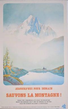 Samivel - Original Ski Poster: Sauvons La Montagne Aujourd'hui pour Demain