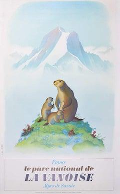 Samivel - Original Ski Poster: Le Parc Nationalle de la Vanoise Savoie Marmot
