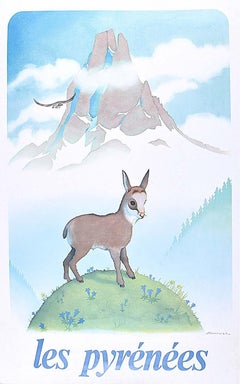 Samivel - Original Ski Poster: Les Pyrénées France French Mountains Goat Eagle
