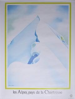 Samivel original vintage poster Les Alps Pays de Chartreuse France Skiing Spirit
