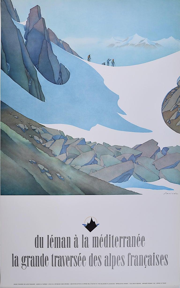 Samivel Paul Gayet-Tancrède  Landscape Print - Samivel - Original Vintage Skiing Poster Alps Mediterranean Climbing