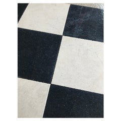 Sample Black and White Limestone Checkerboard Flooring