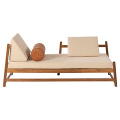 Sample, Pita Outdoors Daybed, Teak Wood, Off-White Denim and Leather