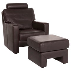 Sample Ring Leather Armchair Includes Stool Brown Dark Brown