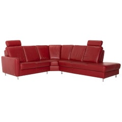 Sample Ring Leather Corner Sofa Red Dark Red Sofa Function Couch