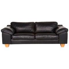 Sample Ring Leather Sofa Black Three-Seat