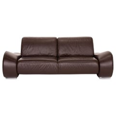 Sample Ring Leather Sofa Brown Dark Brown Two-Seat Couch