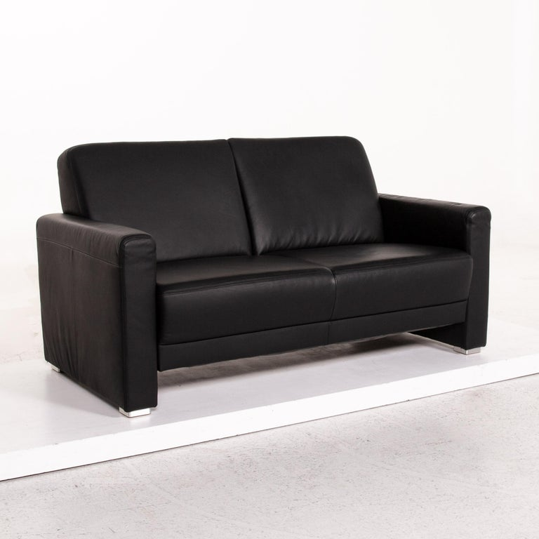 Sample Ring Leather Sofa Set Black 1 Three-Seat 1 Two-Seat Couch 4