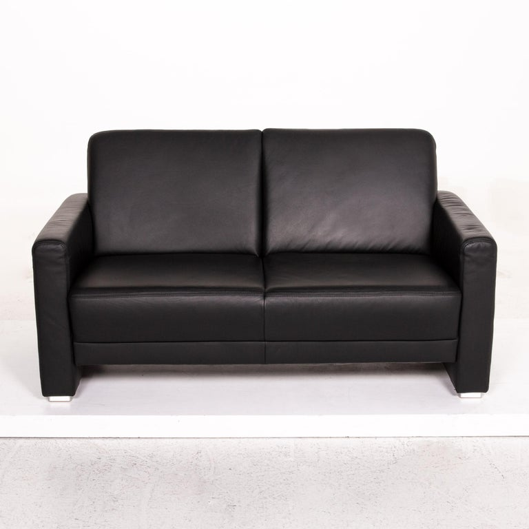 Sample Ring Leather Sofa Set Black 1 Three-Seat 1 Two-Seat Couch 6