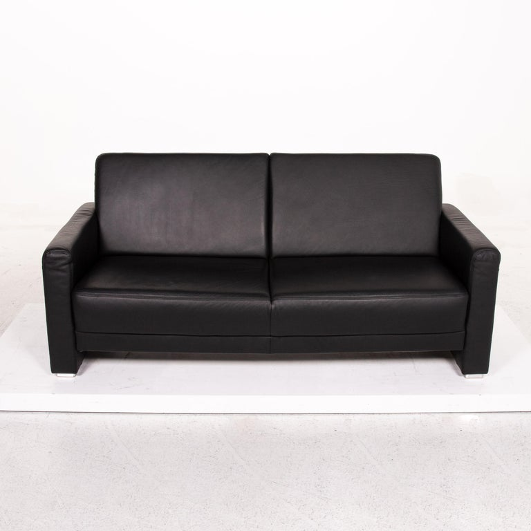 Sample Ring Leather Sofa Set Black 1 Three-Seat 1 Two-Seat Couch 7