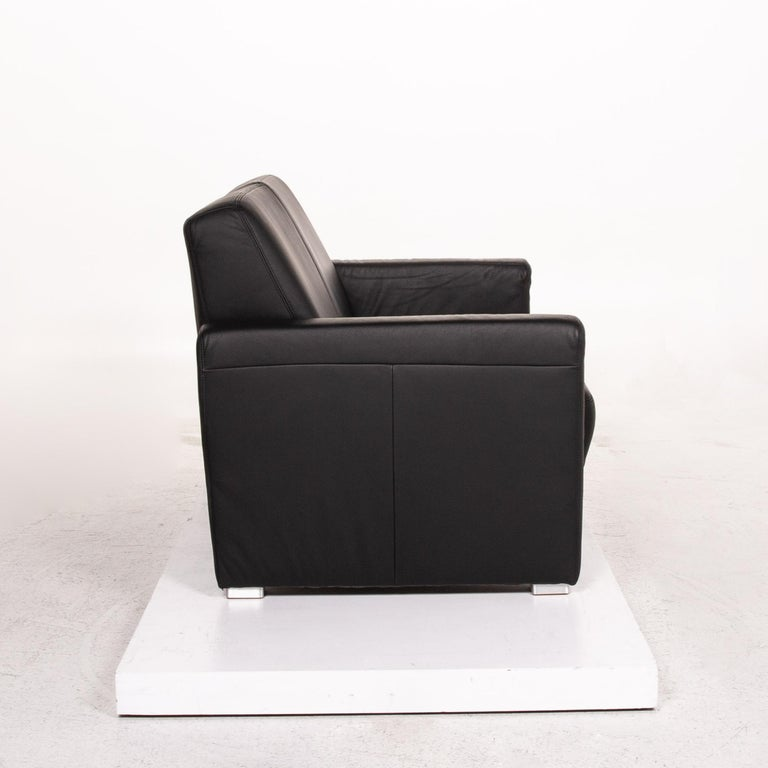Sample Ring Leather Sofa Set Black 1 Three-Seat 1 Two-Seat Couch 8