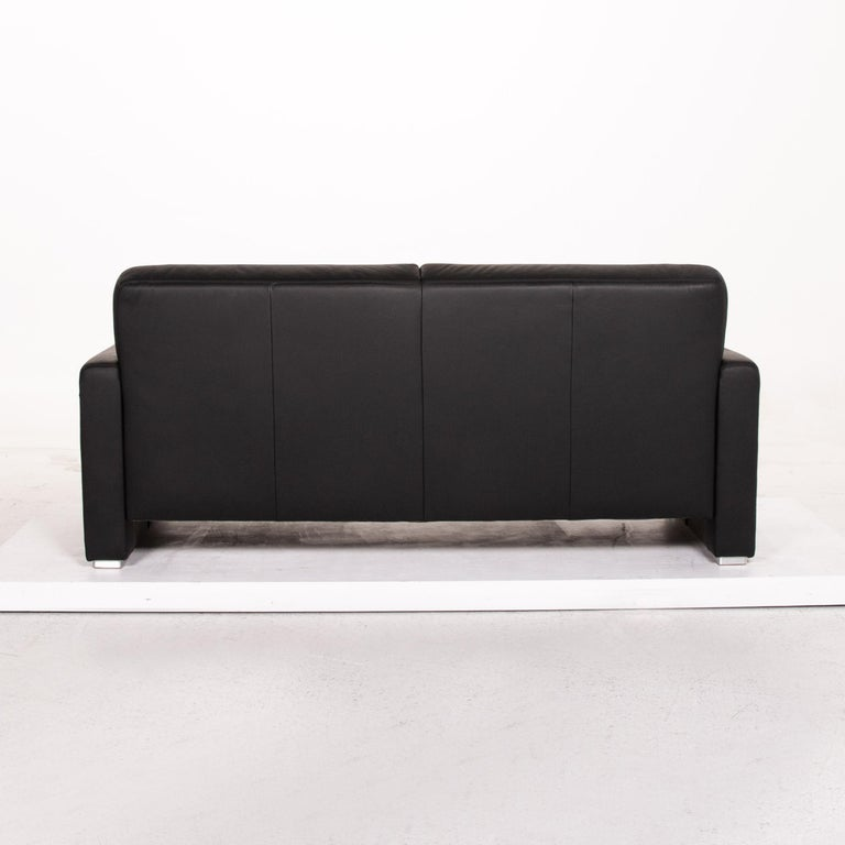 Sample Ring Leather Sofa Set Black 1 Three-Seat 1 Two-Seat Couch 10
