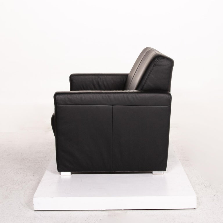 Sample Ring Leather Sofa Set Black 1 Three-Seat 1 Two-Seat Couch 11