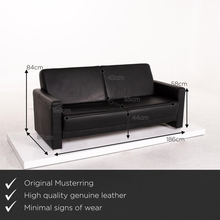 We present to you a Sample ring leather sofa set black 1 three-seat 1 two-seat couch.     Product measurements in centimeters:    Depth 87 Width 186 Height 84 Seat height 44 Rest height 58 Seat depth 55 Seat width 158 Back height