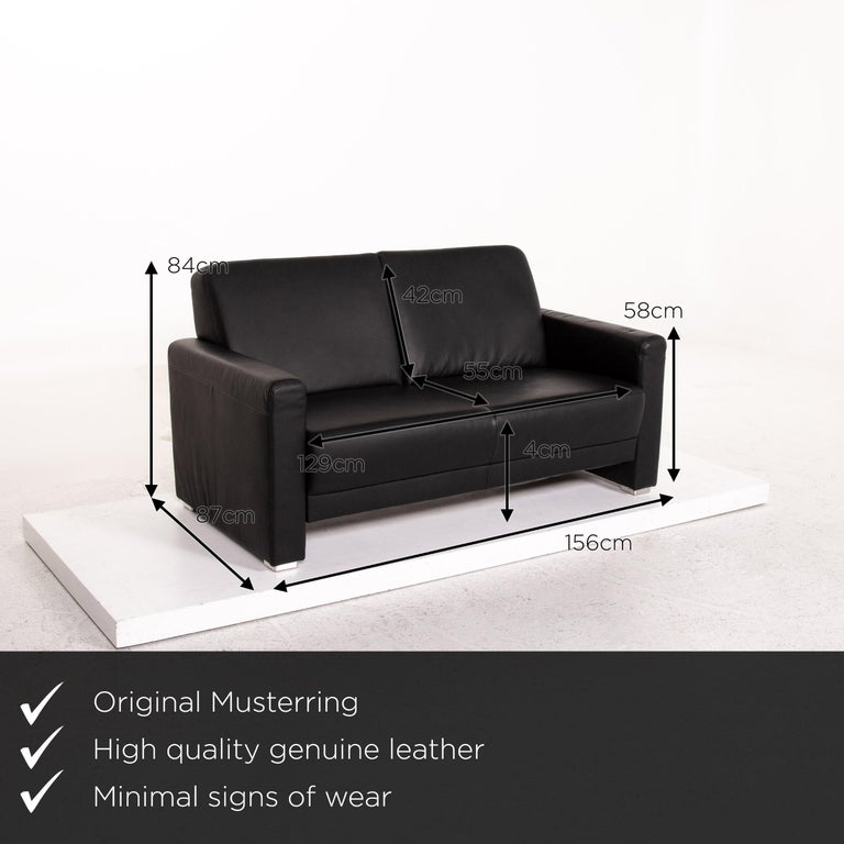 Modern Sample Ring Leather Sofa Set Black 1 Three-Seat 1 Two-Seat Couch