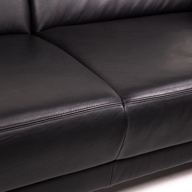 Sample Ring Leather Sofa Set Black 1 Three-Seat 1 Two-Seat Couch In Good Condition In Cologne, DE