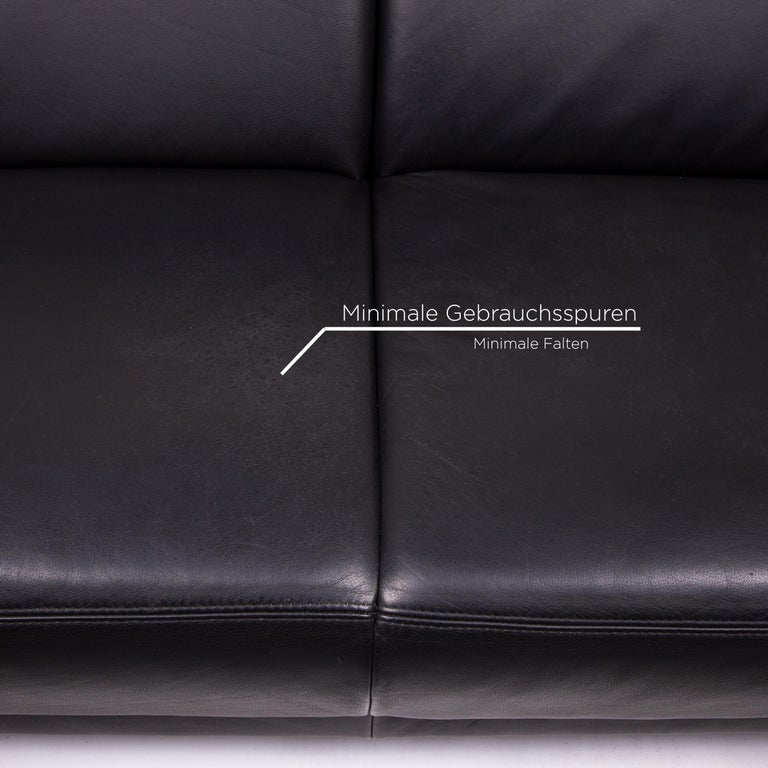 Sample Ring Leather Sofa Set Black 1 Three-Seat 1 Two-Seat Couch 1