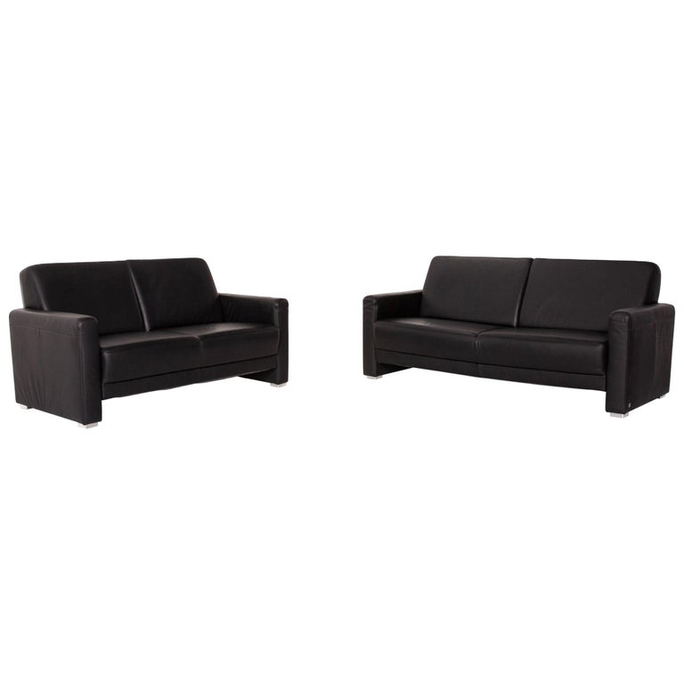 Sample Ring Leather Sofa Set Black 1 Three-Seat 1 Two-Seat Couch