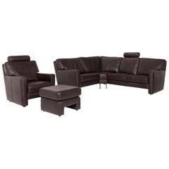 Sample Ring Leather Sofa Set Brown Dark Brown 1 Corner Sofa 1 Armchair Incl